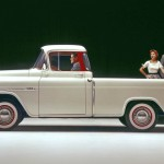 As pickups continued to find their way off the farm and into suburban driveways, buyers demanded more style and amenities. Rising to the occasion, Chevrolet's 1955 Cameo Carrier and its GMC Suburban counterpart were the first pickups to ditch the distinct rear fenders that had been standard pickup fare since the 1920s, in favor of smooth fiberglass flanks for a more carlike appearance. Their exterior was further gussied up with two-tone paint and a liberal application of chrome. The decadence continued inside, with matching two-tone upholstery and unheard-of amenities such as dual sun visors and armrests—all for a hefty 30-percent price premium. Still, the design was a modest success, and other makers soon followed suit. By 1960, Ford, Dodge, and GM all offered smooth-sided pickups, but with conventional steel bodies.