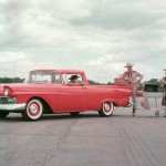 Based on a two-door Ford station wagon, the '57 Ford Ranchero combined carlike styling, comfort, and handling with some of the utility of a pickup truck. Most of the wagon's features and options were available, including the 352-cubic-inch V-8. With almost 22,000 sold in its first year of production, the Ranchero's success led Chevrolet to follow suit with the El Camino in 1959. The names stuck, but both manufacturers played around with different platforms for their car-based pickups before settling on mid-size models by the mid-1960s.