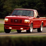 Like the Chevy, Ford's Lightning was available as a short-bed, two-wheel-drive model only. Powered by a 240-hp 5.8-liter V-8, the Lightning made no pretenses about being a work truck but offered zero-to-60-mph times in the seven-second range. Handling was surprisingly nimble for a truck. Production of the first-generation Lightning ended after the 1995 model year and 11,563 units. An even more powerful Lightning emerged in 1999 and stayed in production through 2004. Car and Driver tested a Lightning equipped with a 380-hp 5.4-liter supercharged V-8 in 2001 and recorded a 5.2-second run to 60.
