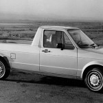 As the compact-pickup craze hit its peak in the era of rising fuel prices, smaller car-based models became available. Dodge enjoyed modest success with the Omni-based Rampage of 1982–84 (and sister model Plymouth Scamp), but it was the Volkswagen Rabbit pickup that really defined the category. Arriving for the 1980 model year, the Rabbit offered decent fuel mileage and relatively sporty handling for a truck. Based on the two-door hatchback, the pickup was identical from the front doors forward, sharing its independent suspension, front-wheel drive, and choice of four-cylinder gasoline or diesel engines. In order to accommodate a proper six-foot bed out back, the pickup's wheelbase was stretched to 103.3 inches, almost nine inches more than the hatchback. And it ditched the hatchback's independent rear suspension in favor of a solid rear axle for increased load capacity. An immediate hit, sales peaked at 37,392 in 1981. But cheaper gas and an increasing market for larger trucks quickly took their toll, and sales dropped to just 2079 two years later. U.S. sales ended after a five-year run, with a total of 75,947 produced. But sales continued in Europe and South Africa, where pickups with the unlikely name Caddy were produced until 2007.